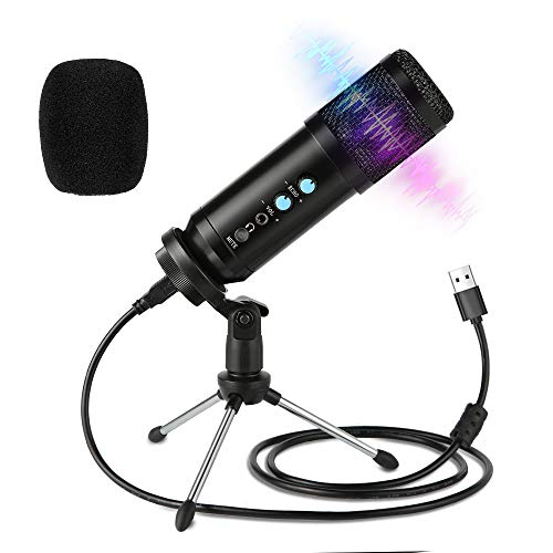 USB Microphone,Podcast Multipurpose Condenser Microphones for Computer,Laptop,Plug&Play Microphone with Desktop Stand for Gaming,Recording,Broadcasting,Meeting,Voice Overs and Streaming