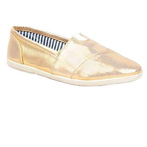 SODA Womens Canvas Slip-On Flats Object,Gold,5.5