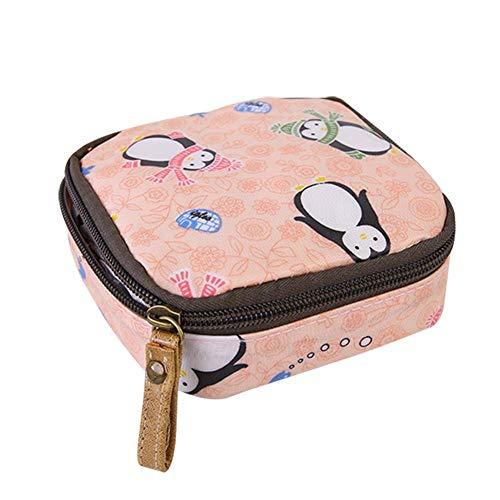 LEEYYO Tasche für Kopfhörer, mit Erdbeermuster, quadratisch, mit Reißverschluss, für Kinder, für Damen und Herren, 1 Stück Pinguin