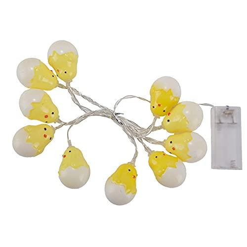 LOKOER Huevo de Pascua LED Cadena de luz 1,5 M 10 Adorno de luz Linterna de juguete para ni?os para decoración de Pascua Jardín Decoración de fiesta en casa