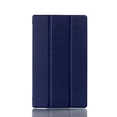 Awenroy Funda para Sony Xperia Z3 Tablet Compact Durable Ultra Slim Ligero Función de Soporte Protectora Plegable Smart Cover con Auto Reposo/Activación - Azul Marino