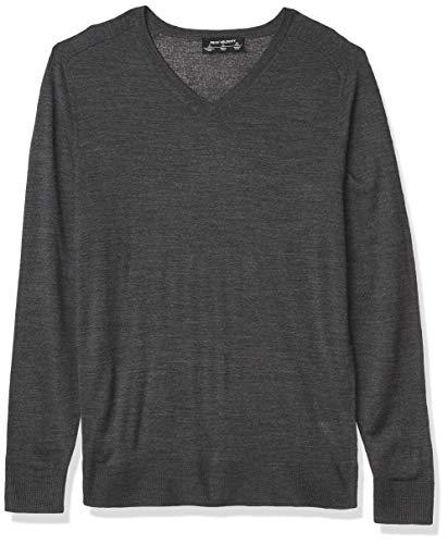 Amazon Brand - Peak Velocity Men's V-Neck Merino Wool Thermolite Sweater, Dark Grey Heather, Large