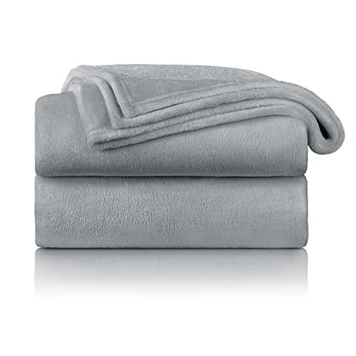 Blumtal Flauschige Kuscheldecke – hochwertige Wohndecke, super weiche Fleecedecke als Sofaüberwurf, Tagesdecke oder Wohnzimmerdecke, 150 x 200 cm, Grau