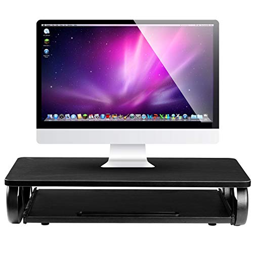 Executive Monitor Stand Computer Riser with Mouse & Keyboard Tray - Home & Office Desk Shelf Organizer for Laptop, Computer, TV - (Black)
