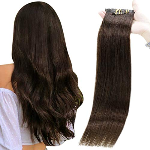 Full Shine Clip In Hair Extensions Human Hair Seamless Clip In Extensions 100 Gram 8 Pieces PU Clip in Hair Extensions Straight Thick Hair Extensions Clip in