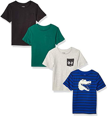 Amazon Brand - Spotted Zebra Boy's Short-Sleeve T-Shirts, 4-Pack Chompers, Medium