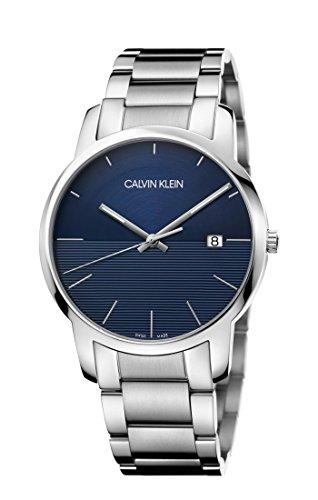 Relógio masculino de quartzo Calvin Klein com pulseira de aço inoxidável, prata, 22 (modelo: K2G2G14Q)