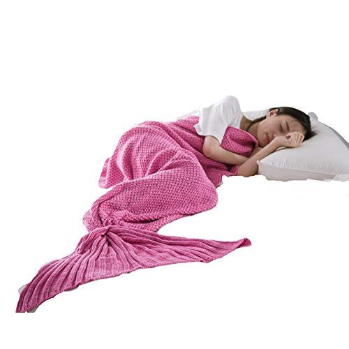 JJIIEE Manta de Cola de Sirena, Manta Tejida para Saco de Dormir, Mantas de Cama de Punto cálidas para Todas Las Estaciones, edredón de sofá para Sala de Estar para niños y Adultos,Rosado