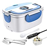 【New Upgrade】Electrical Lunch Heating Box, ErayLife 3 in 1 Food Warmer Box 12V/24V/220V, 1.5L Removable Stainless Steel Container with Spoon, Portable Heated Lunch Box for Car/Office/Picnic(Blue)