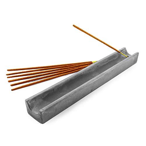 Slice of Goodness Gray Cement Rectangular Incense Holder - Modern Minimalist Upright Standard Size Incense Burner - Incense Sticks Not Included