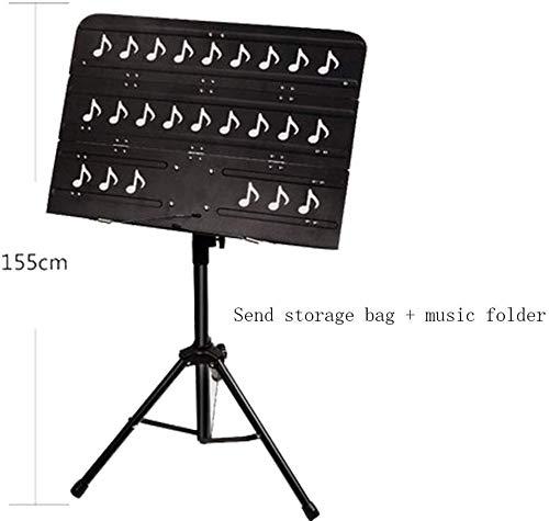 Relaxbx Pupitre à Musique Pliant, Support en métal portatif réglable en Hauteur, Base antidérapante, Facile à Assembler, Violon de Guitare Multifonction Pliable, Facile à Ranger et à Voyager (Noir)