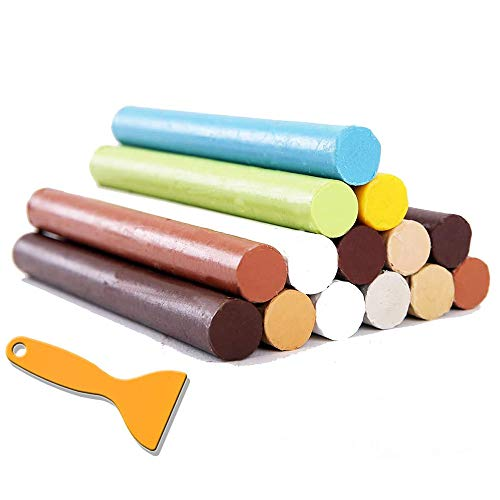 Crayon Furniture Floor Repair Kit Wood Filler - 14 Colors+1 Scraper - Melting Wax Stick Crayons for Scratches, Nail Hole, Wood Floors, Tables, Desks, Carpenters, Bedposts