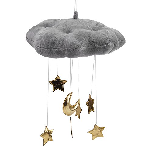 Haokaini Cloud Hanging Decoration,Floating Cloud Pendant with Moon Stars Baby Crib Bed Room Play Tent Nursery Ceiling Photo Props Wall Art Decor(Gray)