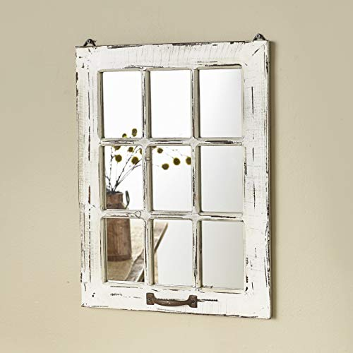 The Lakeside Collection Distressed Wood Windowpane Mirror - Rustic Home Decoration - Small 15