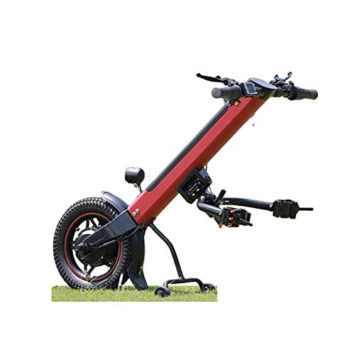 GMtes 2021 350W Rollstuhlzuggerät Rollstuhl Zuggerät, Power Handcycle/Handbike, Elektrisch Rollstuhl Schubgerät, Elektrorollstuhl Umrüstsatz mit Frontleuchte, 36V 11.6AH Batterie