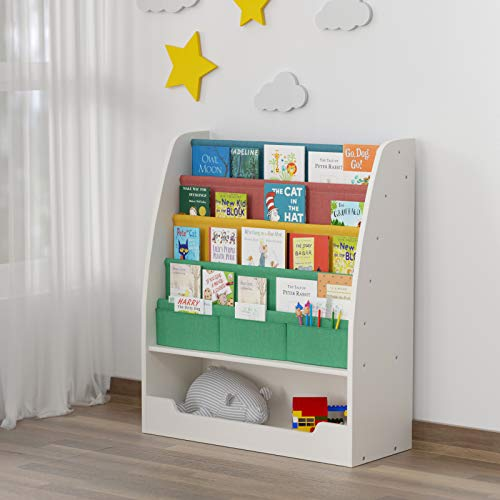 White-Blue Kids Bookshelf Sling Wooden Childrens Bookcase with 5 Canvas Shelves and 2 Drawers for Boys and Girls Kids Storage Organizer Units Child Display Book Rack Playroom Bedroom Furniture