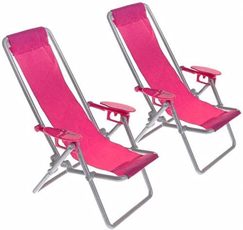EPRHAN 2 piezas rosa roja muñecas casa miniatura playa tumbona miniatura silla de playa para adultos colecciones de Barbie juguetes calientes accesorios