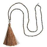 KELITCH Natürliches Kristall Silver Buddha Kopf Perlen Quaste Schichtung Halskette Handmade Mode Wickel Schmuck (Braun)