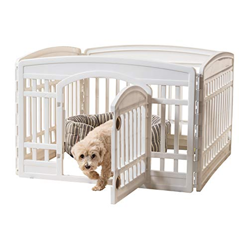 IRIS USA 24'' 4 Panel Exercise Pet Playpen with Door, White Cl-604E (586680)