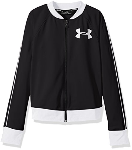 Under Armour Girls' Track Jacket,Black (001)/White, Youth Small
