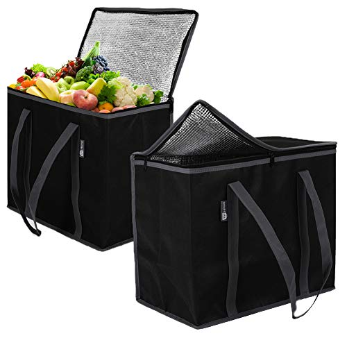 2 Pack XL Insulated Grocery Bags: Eco Friendly Heavy Duty Foldable Insulated Shopping Bags for Groceries and Reusable Zipper Insulated Bag for Cold and Hot Shopping & Frozen Food Transport Delivery