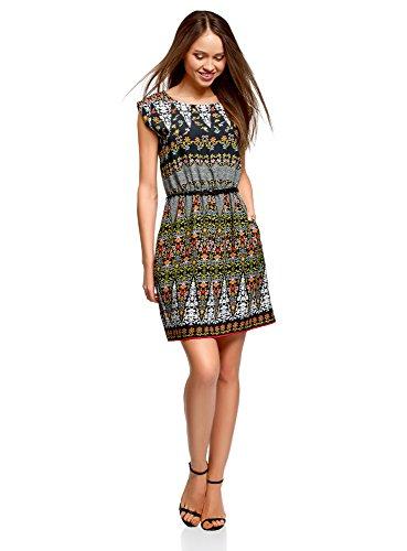 oodji Ultra Damen Ärmelloses Kleid aus Bedruckter Viskose, Mehrfarbig, DE 34 / EU 36 / XS