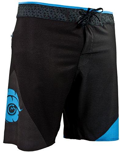 GUGGEN Mountain Badehose für Herren Boardshorts 1802 mit Nahtloser Reißverschlusstasche Surfshorts Badeshorts Beachshorts Männer mit Muster Schwarz Blau L
