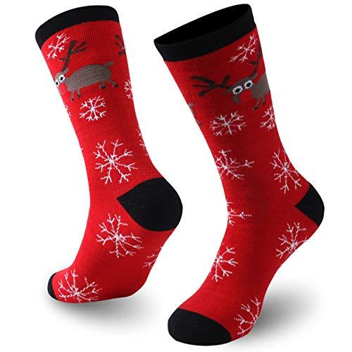 Gmoka Christmas Novelty Warm Socks, Dress Grinchmas Adult Holiday Crew Socks, 1Pairs Elk & Snow In Red