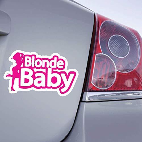Zone-Stickers Sticker Voiture Blonde Baby - 25cm x 13cm, Rose