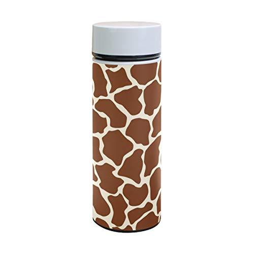 Ahomy Edelstahl Vakuum-Isolierflasche Giraffe Tattoo Braun Wasserflasche Reise Kaffee Becher 350ml