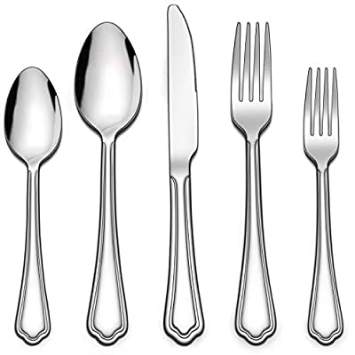 LIANYU 20-Piece Silverware Set, Stainless Steel Flatware Cutlery Set for 4, Eating Utensils Set with Scalloped Edge, Dishwasher Safe, Mirror Polished