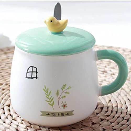GYHJG Taza De Cerámica Taza De Pájaro Creativa Taza De Cerámica Pintada A Mano De Dibujos Animados Taza De Café De Desayuno