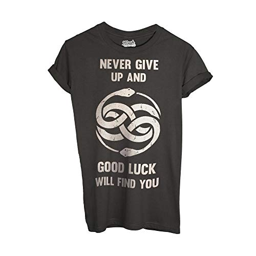 MUSH T-Shirt LA Storia Infinita Never Give UP - Film by Dress Your Style - Uomo-M-Antracite