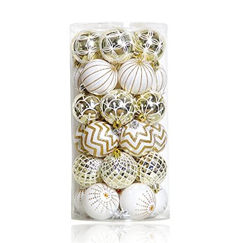 Jiaojie 30 bolas de Navidad bellamente decoradas para árbol de Navidad adecuado para vacaciones, bodas, fiestas, decoración de 6 cm
