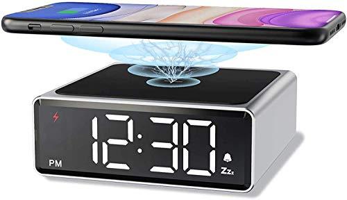 OH Cargador Inalámbrico con Reloj Despertador 2 en 1 Estación de Carga Inalámbrica para Iphone 12/11/11 Pro Max/Xs Max/Xs/Xr/X / 8 Disipación de calor rápido