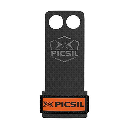 PicSil RX Calleras para Cross Training, Carbon Grips de 2 Agujeros, para Gimnasio, Box, Halterofilia, Gimnasia, Previenen Ampollas y Desgarros, Mayor Resistencia y Protección, Unisex, Naranja, XL