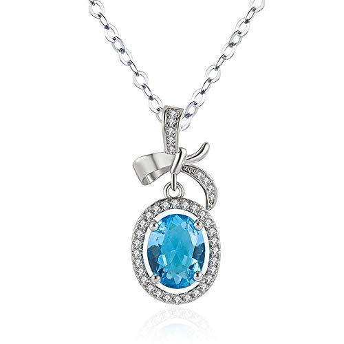 Joyería de plata 925, collar de mujer, zafiro ovalado, circonita, piedra preciosa, colgante en forma de Bowknot para accesorios de fiesta de compromiso de boda