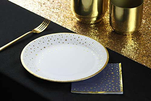 Talking Tables 9 Inch Round Plate, With Gold Foil. 12Pk.