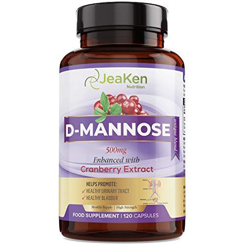 D-Mannose-poeder in capsules Verbeterd met Cranberry-extract - 120 Veganistische Dmannose-capsules - Allergeenvrije D Mannose voor UTI - Natuurlijke en veilige UTI-behandeling en verlichting van cystitis