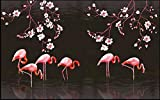 MINCOCO 3D Foto Tapete benutzerdefinierte Wandbild Hand gezeichnete Magnolie Flamingo Wohnzimmer Wohnkultur 3D Wandbilder Tapete, 300x210 cm (118.1 by 82.7 in)