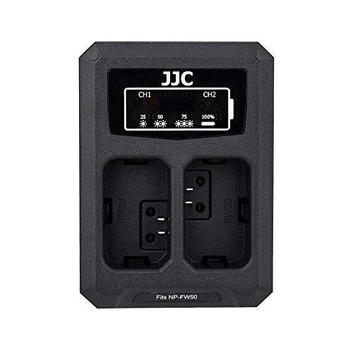 JJC USB dubbel batteriladdare för Sony NEX, Alpha A6500 A6400 A6300 A6000 etc. Kameror ersätter Sony NP-FW50 [Se beskrivning för fler kompatibilitetskameror]