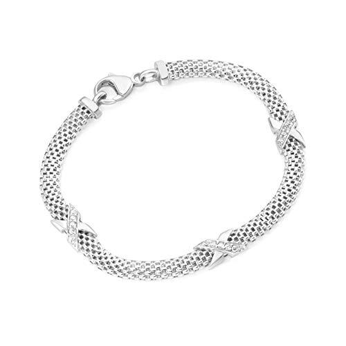 Bracciale in argento 925 rodiato, lunghezza 19 cm, larghezza 5 mm