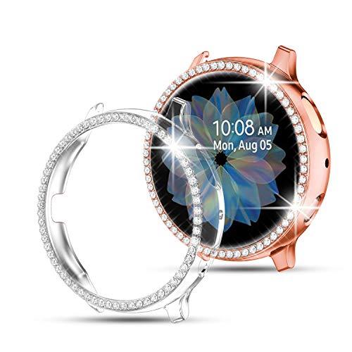 Youmaofa Funda Protectora para Samsung Galaxy Watch Active 2 40mm 44mm, (2 Pack) Built-in HD Protector de pantalla Bling Cristal Diamante PC Chapado Parachoque Cubrir Lleno Funda, Claro/Oro Rosa