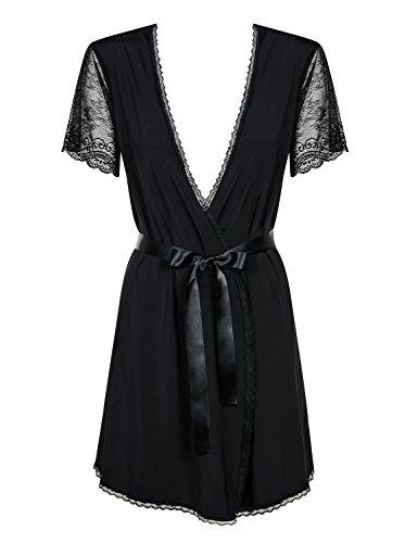 Obsessive Dessous 1001-kleine spullen met ochtendjas Miamor incl. string Robe Kimono nachtkleding avondjas met kant in zwart