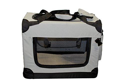 walexo Faltbare Hundebox Hundetransportbox Katzentransportbox Katzenbox (GRAU, XL)