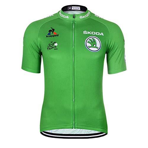 Qianliuk Maglia da Ciclismo Riflettente da Uomo con Tasca, Quick Dry, Traspirante, Anti-Sudore, Manica Corta, Abbigliamento da Ciclismo, Abbigliamento da Bici, Maglie da Bicicletta