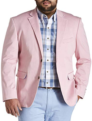 Oak Hill by DXL Big and Tall Stretch Cotton Sport Coat, Pink, 4XL