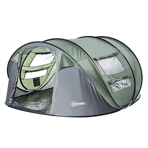 Outsunny Tenda da Campeggio Pop Up 4-5 Posti, 2 Porte e 4 Finestre Telo Impermeabile, 263.5x220x123cm Verde Scuro