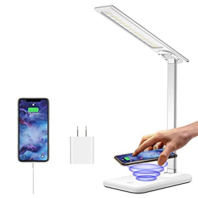 HARMONIC LED Desk Lamp with Wireless Charger,Dimmable Office Lamp with USB Charging Port,Wireless Charging,Touch Control,3 Lighting Modes 6 Brightness Levels,Eye-Caring Table Lamp for Studying,Working
