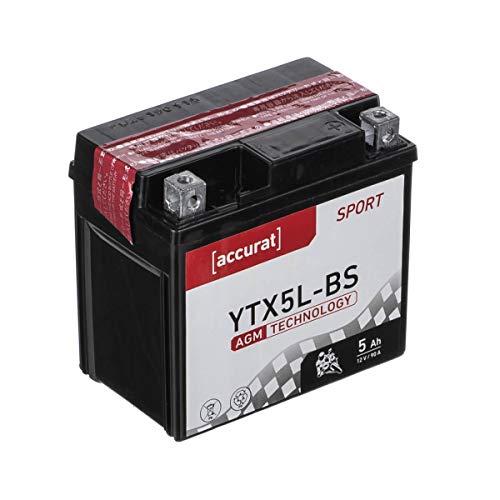 Accurat Motorradbatterie YTX5L-BS 5Ah 90A 12V AGM Roller Starterbatterie Erstausrüsterqualität rüttelfest leistungsstark wartungsfrei